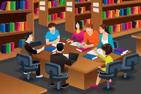 alumnos estudiando: Una ilustraci�n vectorial de estudiantes universitarios que estudian en la biblioteca juntos