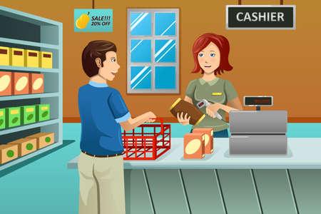 Una ilustración vectorial de cajero que trabaja en la tienda de comestibles atendiendo a un cliente Vectores