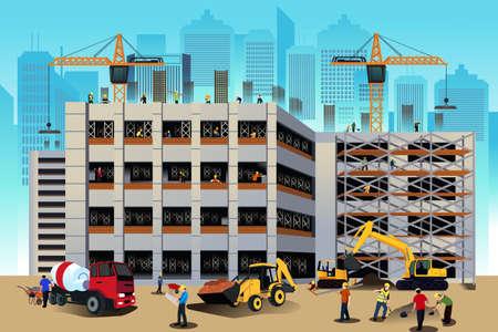Une illustration de vecteur de la scène de la construction de bâtiments Illustration