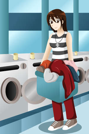 A vector illustration of Young woman doing laundry to coin laundry place Vector