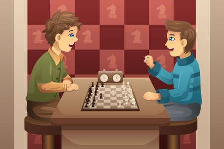 jugando ajedrez: Una ilustración vectorial de niños felices lindo jugando al ajedrez