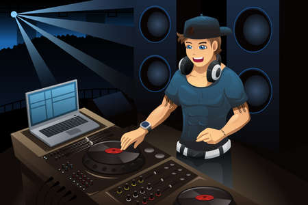 A vector illustration of DJ performing in a night club