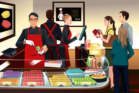 A vector illustration of customers buying macaroons at French bakery shop Çizim