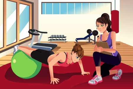 A vector illustration of female personal trainer training a woman in the gym