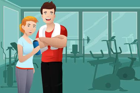 motion: En vektor illustration av muskulös man och frisk sexig kvinna som bär sport outfit i gymmet