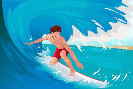 海の上をサーフィン男のベクトル イラスト