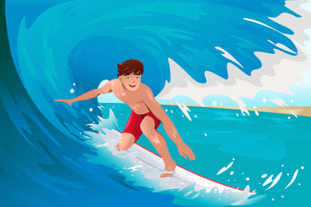 A vector illustration of man surfing on the ocean Vector