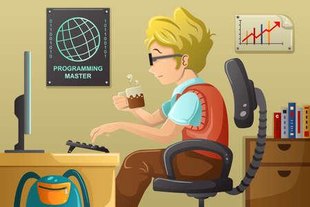 geek: Una ilustración vectorial de programador informático que trabaja en su computadora
