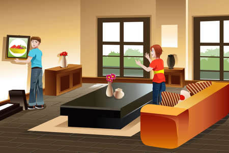 A vector illustration of young couple hanging a painting on the wall for home improvement Vector