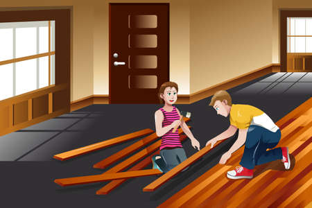 installing: A vector illustration of young couple installing hardwood floor