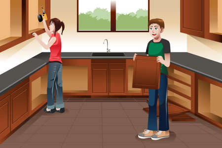 A vector illustration of young couple installing kitchen cabinets together