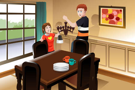 changing: A vector illustration of young couple changing lighting fixture in the dining room to a chandelier Illustration