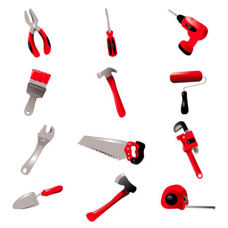 A vector illustration of hand tool icon sets