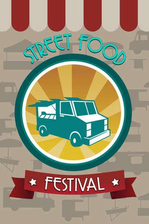 teherautók: Vektoros illusztráció utcai élelmiszer fesztivál brosúra tervezés