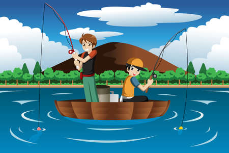 a vector illustration of happy kids going fishing on a boat