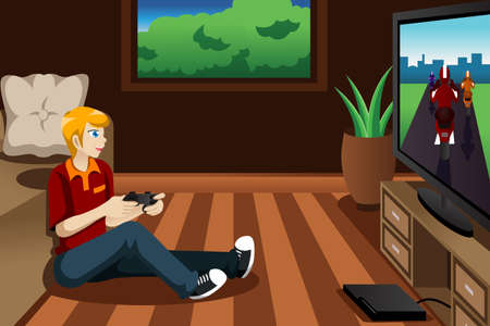 A vector illustration of man playing video game in his bedroom Vector
