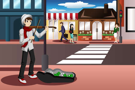 A vector illustration of street musician playing violin in the street Vector