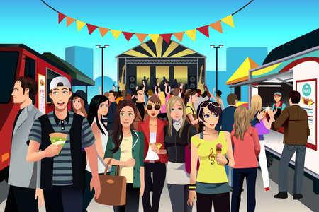 illustration of food: Una ilustraci�n del vector de la gente que se divierte en la calle festival de comida Vectores