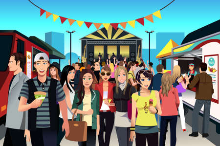 food woman: Une illustration de vecteur de personnes ayant l'amusement dans le festival de l'alimentation de rue
