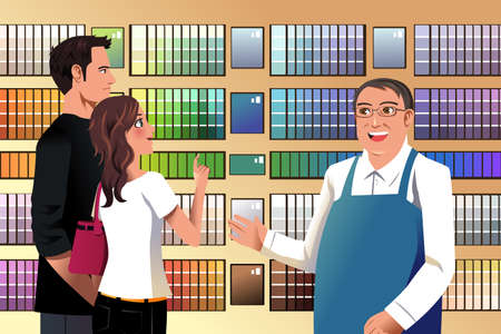 A vector illustration of couple choosing paint in a hardware store