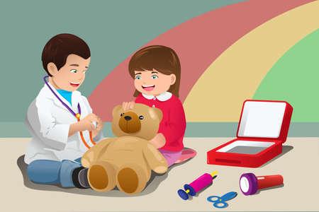 lekarz: Ilustracja dzieci bawiących lekarza razem