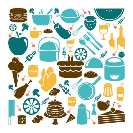 illustration: A vector illustration of food icon sets Illustration