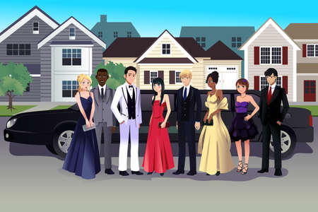 A vector illustration of teen in prom dress standing in front of a long limo Vector