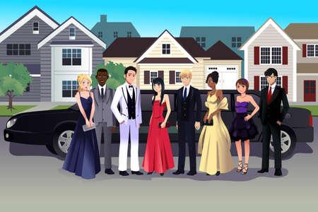 Una ilustración vectorial de adolescente en vestido de fiesta que se coloca delante de una larga limusina