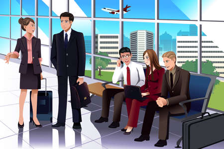 A vector illustration of business people waiting in the airport