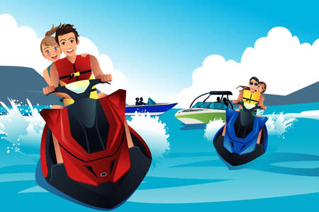 A vector illustration of young people riding jet ski in the summer Иллюстрация
