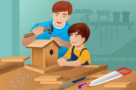 A vector illustration of father making a birdhouse with his son Vector