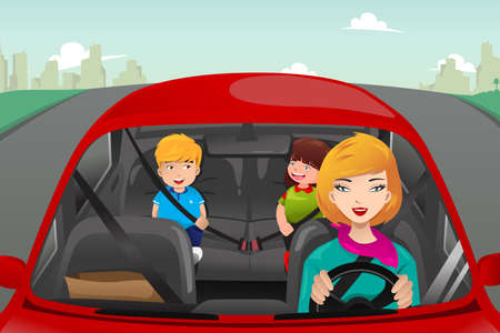 어머니가 아이들이 안전 벨트를 착용 뒤에 타와 함께 운전의 벡터 일러스트