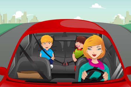 Una ilustración vectorial de la madre conduciendo con sus hijos a caballo en la parte posterior llevaba el cinturón de seguridad