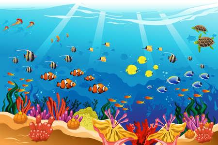 tortuga caricatura: Una ilustración vectorial de escena bajo el agua marina