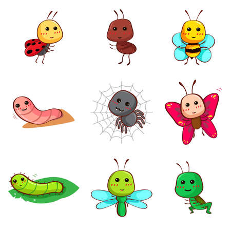 A vector illustration of Cute cartoon insects and bugs icon Фото со стока - 27517416