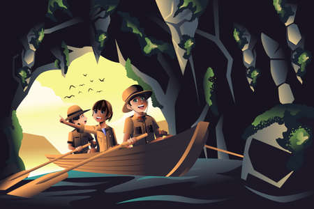 Een vector illustratie van gelukkige kinderen op een avontuurlijke reis Stock Illustratie