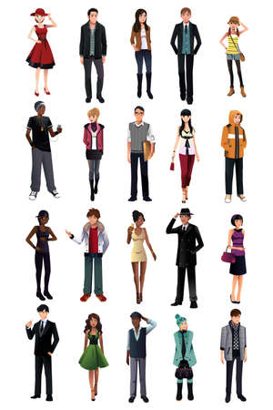 informal: A vector illustration of stylish young people from different ethnicity Illustration
