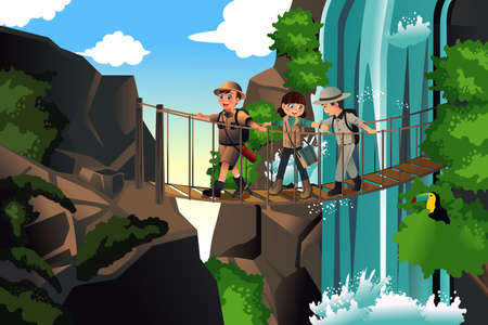 hiking: A vector illustration of happy kids on an adventure trip