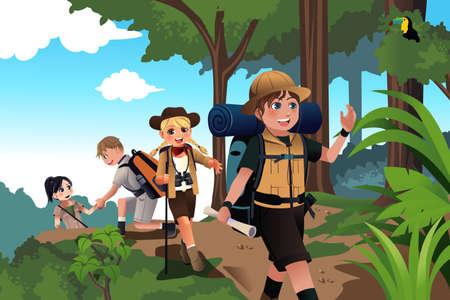 amigo: Una ilustraci�n vectorial de ni�os felices en un viaje de aventura