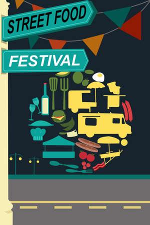 teherautók: A vektoros illusztráció utcai élelmiszer fesztivál röpiratot tervezési Illusztráció