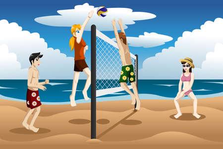 vacanza al mare: Una illustrazione vettoriale di giovani che giocano a beach volley