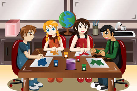 A vector illustration of kids painting together in an art class