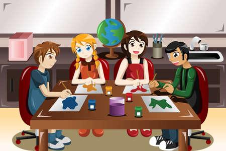 chicos pintando: Una ilustraci�n vectorial de los ni�os a pintar juntos en una clase de arte