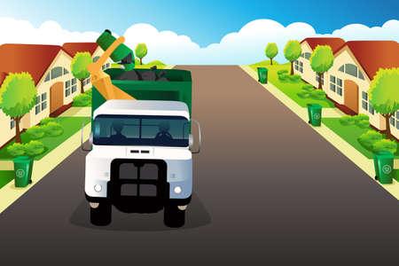 Een vector illustratie van vuilniswagen oppakken van afval in een woonwijk Stock Illustratie