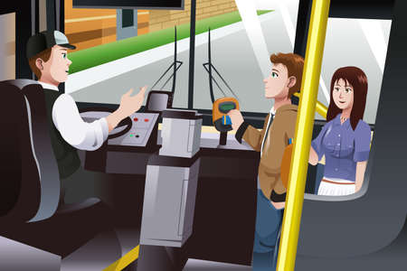 A vector illustration of people paying for bus fare Ilustração