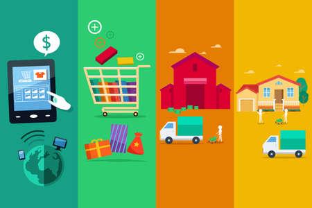 Una ilustración vectorial de proceso de compra en línea por Internet
