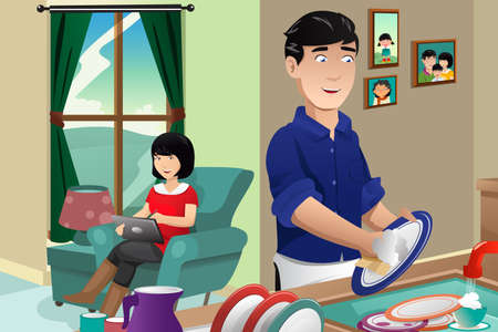 chores: A vector illustration of husband washing dishes while wife using tablet PC