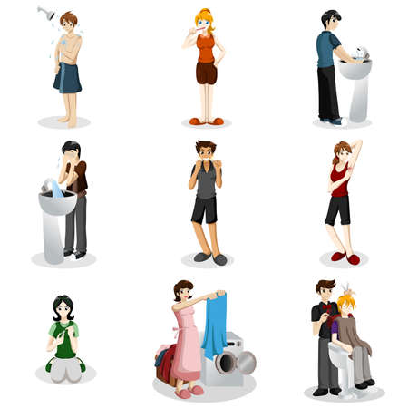 A vector illustration of people practicing good hygiene Vector