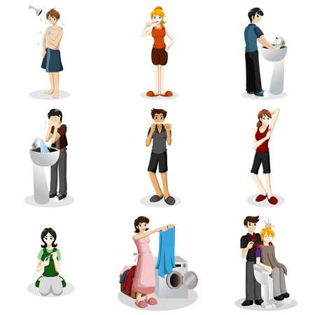 aseo: Una ilustraci�n vectorial de las personas que practican una buena higiene