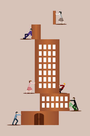 A vector illustration of different business people trying to stack together a building puzzle for teamwork  concept Vector